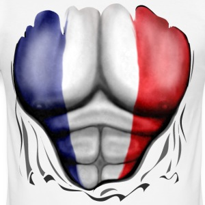 France Flag Ripped Muscles, six pack, chest t-shir - Men's Slim Fit T-Shirt