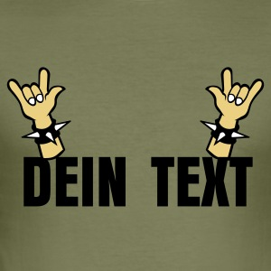 Khaki green Devil horns Metal Sign Two Finger Sign T-Shirts - Männer Slim Fit T-Shirt