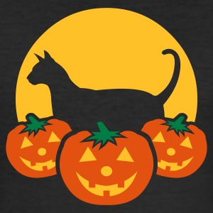 Black halloween_pumpkins_moon_cat_v1 Men's Tees - Men's Slim Fit T-Shirt