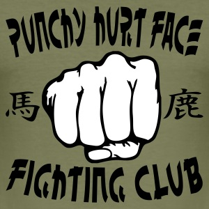 Olive Punchy Hurt Face Fighting Club Men's Tees - Men's Slim Fit T-Shirt