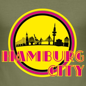 Olive Hamburg City Skyline T-Shirts - Männer Slim Fit T-Shirt