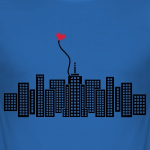 Sky blue City in Love with heart Men's Tees - Men's Slim Fit T-Shirt