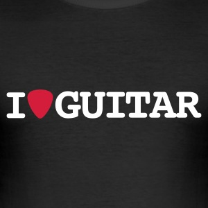 Zwart I love guitar T-shirts - slim fit T-shirt