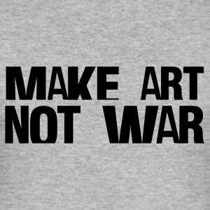 Gråmelert make art not war T-skjorter - Slim Fit T-skjorte for menn