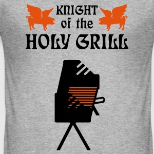 Gråmelert Knight of the holy grill (Txt, 2c) T-skjorter - Slim Fit T-skjorte for menn