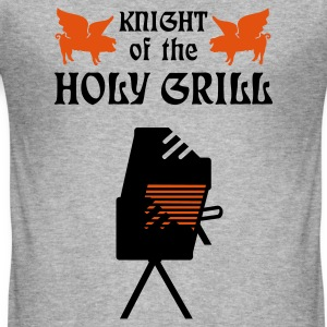 Gråmelerad Knight of the holy grill (Txt, 2c) T-shirts - Slim Fit T-shirt herr