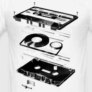 Hvit Compact Cassette - Tape - Music - 80s T-skjorter - Slim Fit T-skjorte for menn
