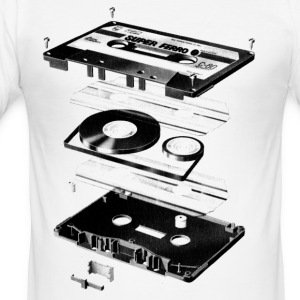 White Compact Cassette- Tape - Music - 80s Men's Tees - Men's Slim Fit T-Shirt