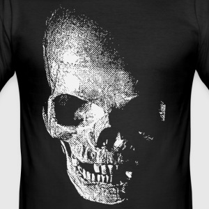 Sort white skull - weißer totenkopf pirat T-shirts - Herre Slim Fit T-Shirt