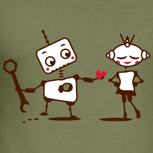 The robot gives away his heart T-Shirts - Men's Slim Fit T-Shirt
