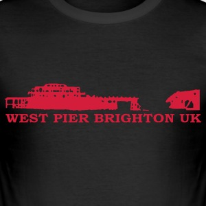 Black Brighton - West Pier Men's Tees - Men's Slim Fit T-Shirt