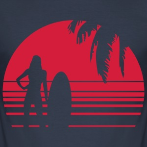 BEACH SURFING GIRL PALME T-Shirts - Men's Slim Fit T-Shirt