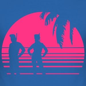 BEACH DIVING SUNSET PALME 1C T-Shirts - Men's Slim Fit T-Shirt