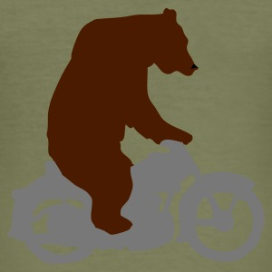 Khaki green Biker Bear, Born Free, Ride Free Men's T-Shirts - Men's Slim Fit T-Shirt