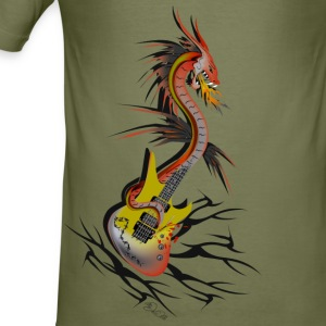 Kamel Guitar Dragon T-skjorter - Slim Fit T-skjorte for menn