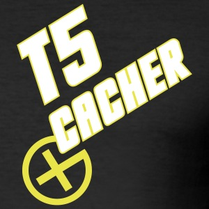 Geocaching T5 Cacher white - Männer Slim Fit T-Shirt
