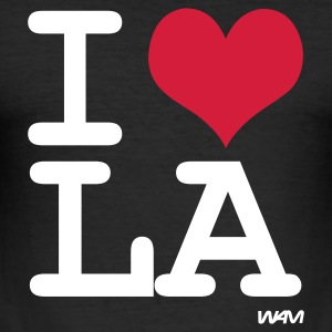 Schwarz i love los angeles - la by wam T-Shirts - Männer Slim Fit T-Shirt