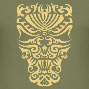 Khaki green Maoriskull II T-Shirts - Männer Slim Fit T-Shirt