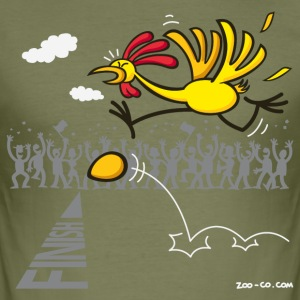 Olive Chicken and Egg: scrambled forever? Men's T-Shirts - Men's Slim Fit T-Shirt