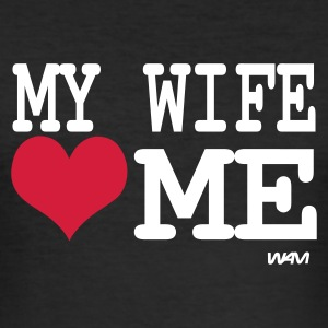 Zwart my wife loves me by wam T-shirts - slim fit T-shirt