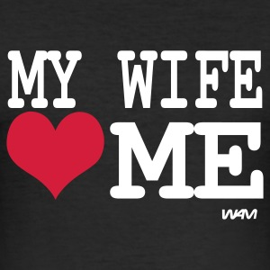 Black my wife loves me by wam Men's T-Shirts - Men's Slim Fit T-Shirt