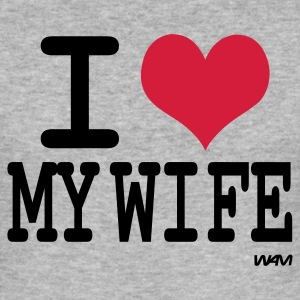Grå meleret i love my wife by wam T-shirts - Herre Slim Fit T-Shirt
