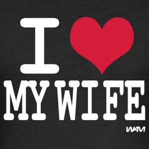 Sort i love my wife by wam T-shirts - Herre Slim Fit T-Shirt