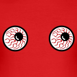 Rot monster eyes augen halloween horror T-Shirts - Männer Slim Fit T-Shirt
