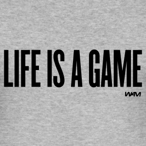 Gråmelert life is a game by wam T-skjorter - Slim Fit T-skjorte for menn