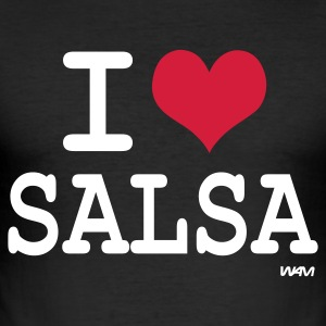 Black i love salsa by wam Men's T-Shirts - Men's Slim Fit T-Shirt