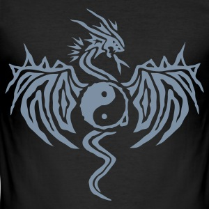 Zwart Yin Yang Dragon T-shirts - slim fit T-shirt