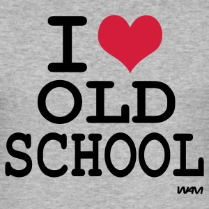 Grijs gespikkeld i love old school by wam T-shirts - slim fit T-shirt