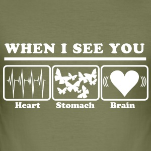 When I see you - Heart/Stomach/Brain = Chaos Tee shirts - Tee shirt près du corps Homme