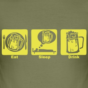 eat sleep drink biere beer1 Tee shirts - Tee shirt près du corps Homme