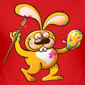 Easter Bunny Painting an Egg T-Shirts - Men's Slim Fit T-Shirt