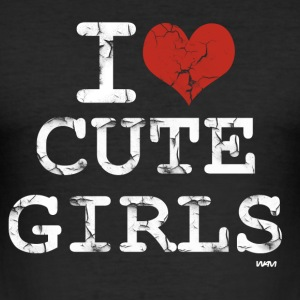 Noir i love cute girls vintage white by wam T-shirts - Tee shirt près du corps Homme