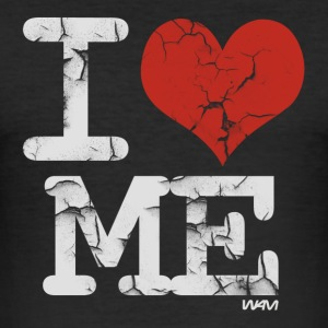 Schwarz i love me vintage white by wam T-Shirts - Männer Slim Fit T-Shirt