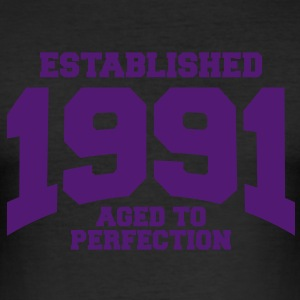 aged to perfection established 1991 (sv) T-shirts - Slim Fit T-shirt herr