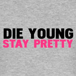 Gris chiné die young stay pretty T-shirts - Tee shirt près du corps Homme