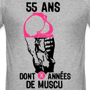 55 ans musculation bodybuilding anniver Tee shirts - Tee shirt près du corps Homme