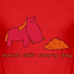 Rood Zelfde shit different day paard pony rijden T-shirts - slim fit T-shirt