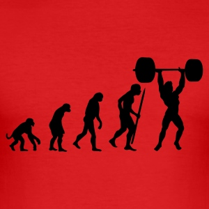 Red Evolution of pumping iron Men's T-Shirts - Men's Slim Fit T-Shirt