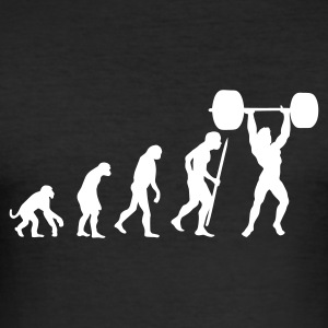 Black Evolution of pumping iron Men's T-Shirts - Men's Slim Fit T-Shirt