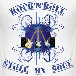 rock'n'roll stole my soul - blue T-shirts - Herre Slim Fit T-Shirt