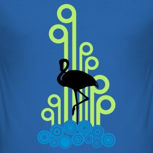 Sky blue Flamingo Silhouet Deco 3C T-shirts - slim fit T-shirt