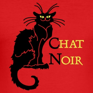 Mörkorange chat noir 'n (text, 2c) T-shirts - Slim Fit T-shirt herr