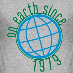 Birthday Design - (thin) on earth since 1979 (uk) T-Shirts - Men's Slim Fit T-Shirt