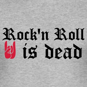 Gris chiné rock'n roll is dead T-shirts - Tee shirt près du corps Homme