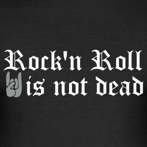 Noir rock and roll is not dead T-shirts - Tee shirt près du corps Homme