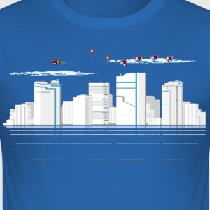 Sky blue pixelSkyline T-Shirts - Männer Slim Fit T-Shirt
